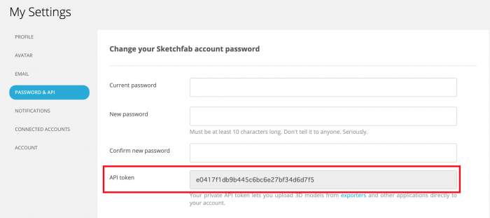 SketchfabのAPIキーを確認