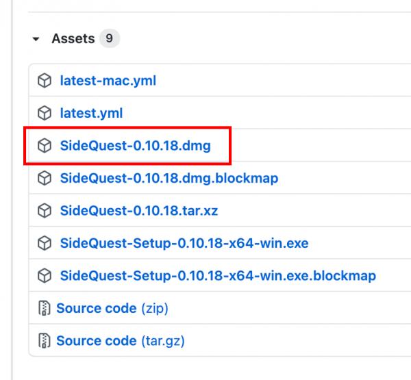 Mac版SideQuestをインストール