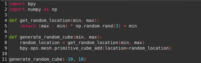 関数を用いてランダムな位置にキューブを生成