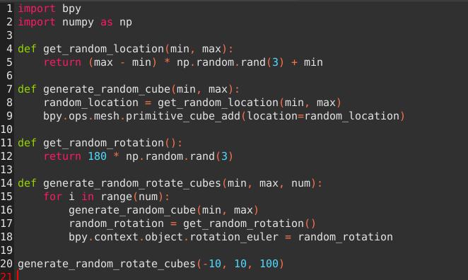 キューブ100個をランダムな角度で生成