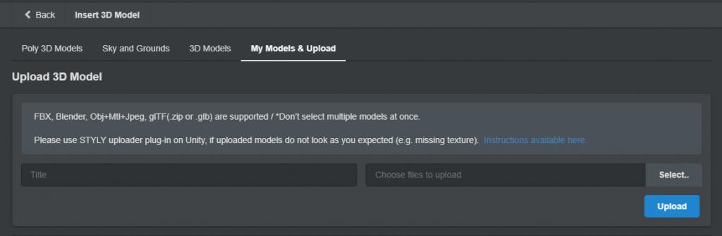 Upload 3D Model画面