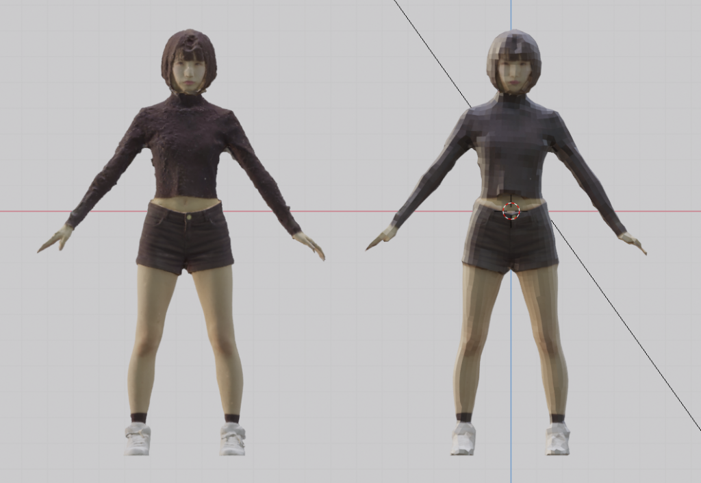High-poly model (left) and low-poly model (right)