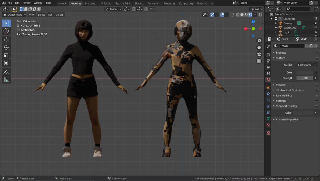 The low-poly model (right) with the texture of the high-poly model (left) applied as is.
