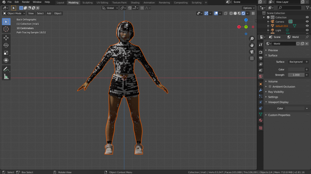 A high-poly model is superimposed on a low-poly model