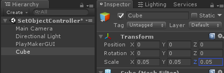 Set the Scale of the Cube to 0.05
