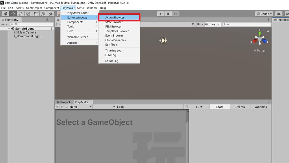 Editor Windowsからアクションブラウザを追加