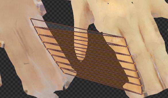 UVがテクスチャのない部分を跨いでいる