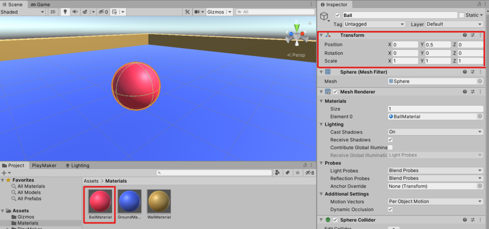 Create a new Sphere and change the material