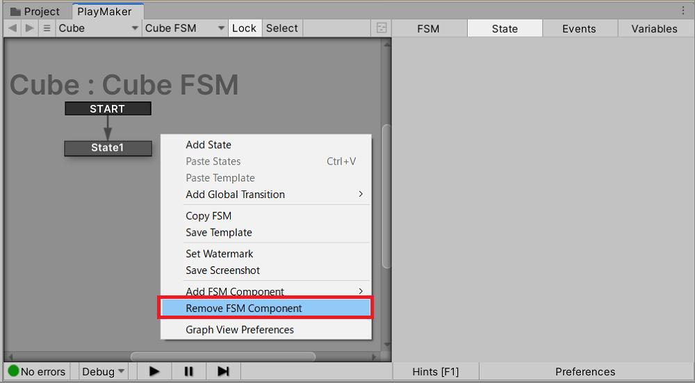 オブジェクトからFSMを削除