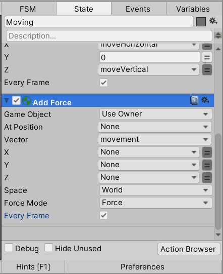 Configure the Add Force action
