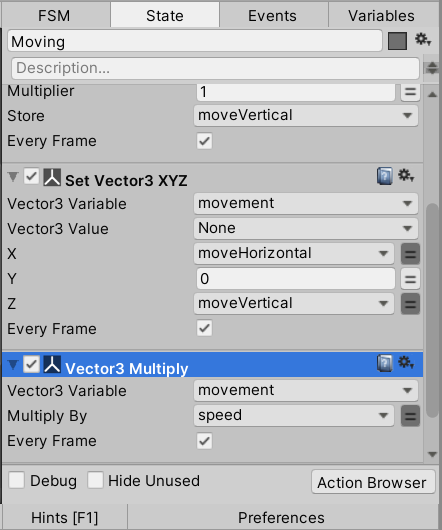 Configure the Vector3 Multiply action