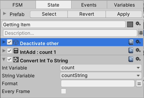 Configuring the Convert Int To String action