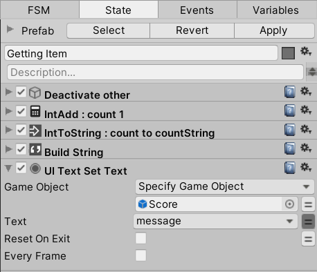 UI Text Set Text action settings