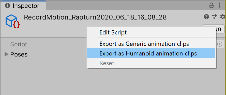 "Right-click and select ""Export as Humanoid animation clips""."