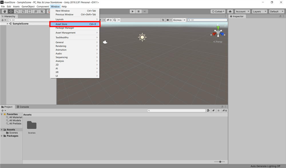 How to display the AssetStore tab if it is not there