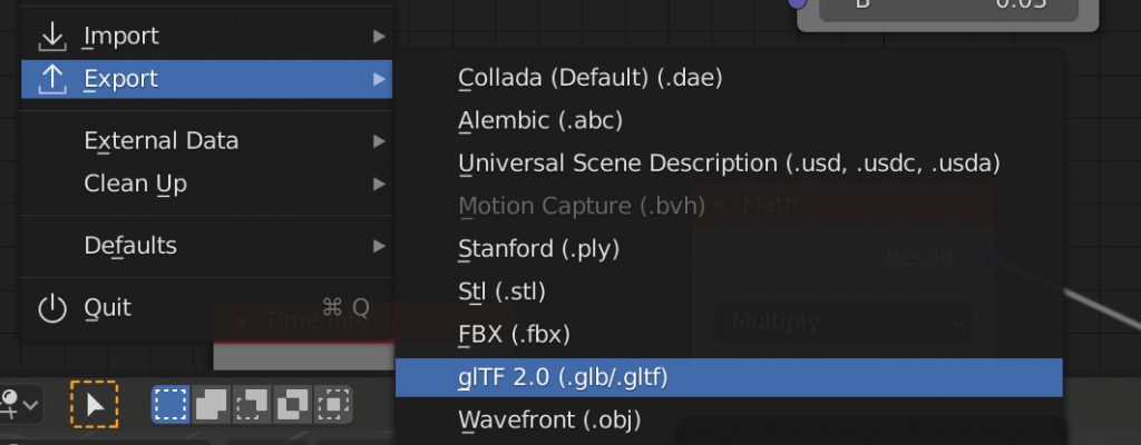 glTF形式でエクスポート
