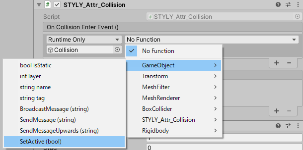 Sets SetActive(bool) to the function.
