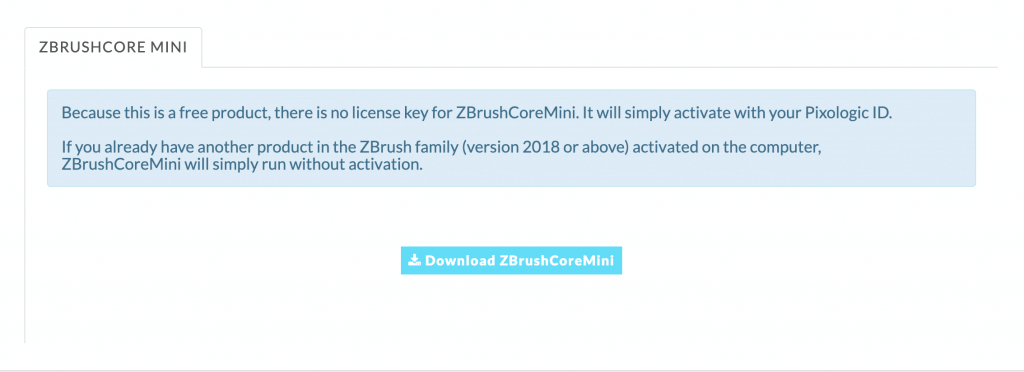 Download ZBrushCoreMini button