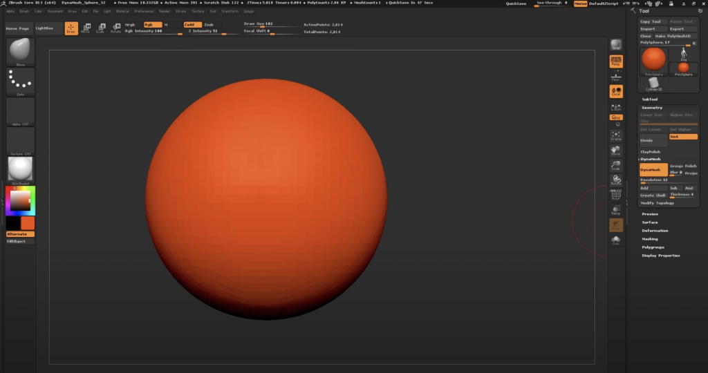 Screenshot of ZBrushCore