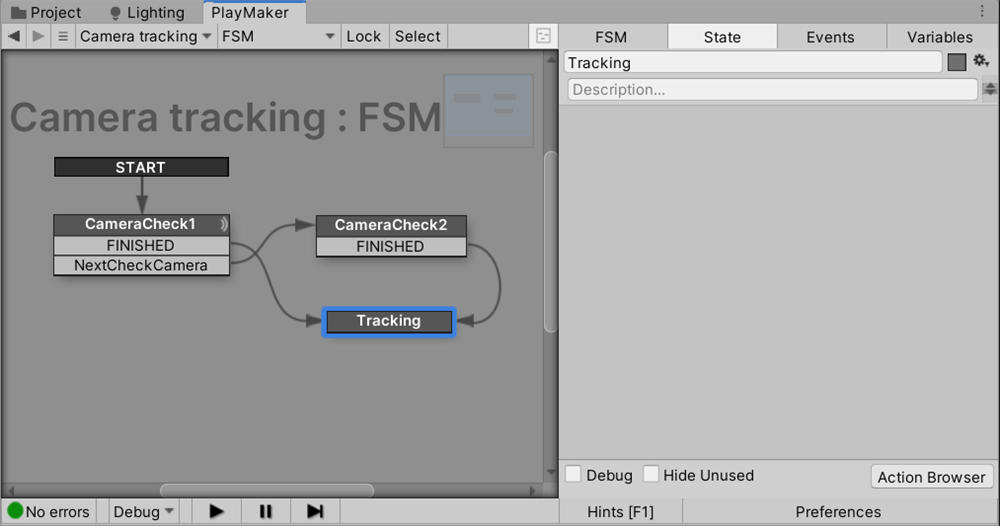 Linking transitions by creating a Tracking state.