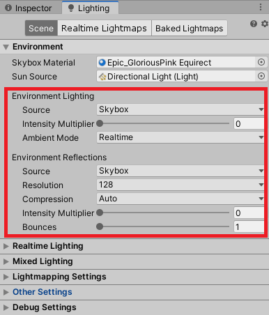 Setting up ambient light in Lighting