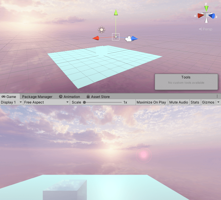 Game Objectがある地点からFlareが描画される