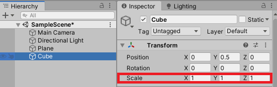 Setting the Scale of a Cube