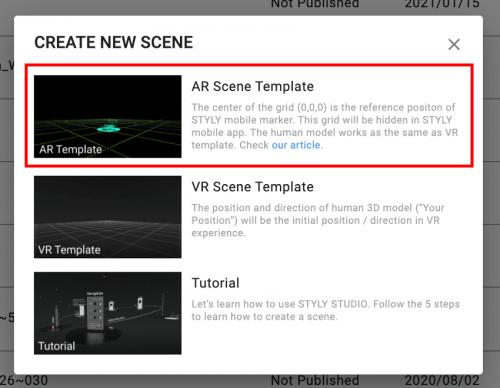 AR Scene Templateを選択