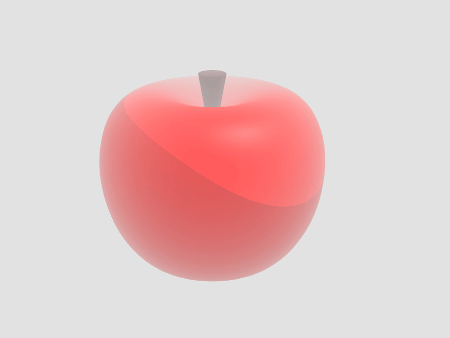 An apple made with Lathe and Cylinder