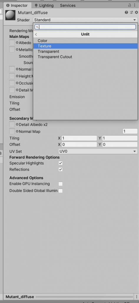 Change the shader of the material