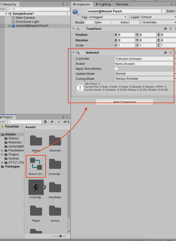 Attach the animator to the 3D model