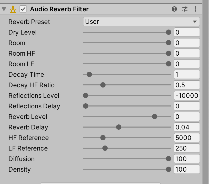 Audio Reverb Filter Components