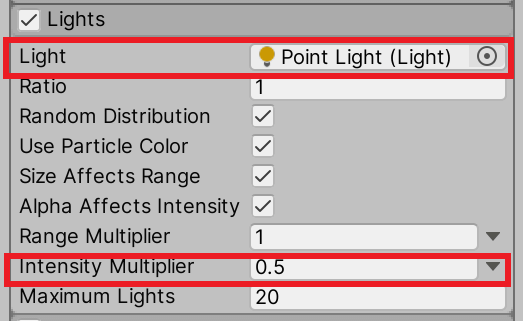 Set Point Light to Light and Intensity Multiplier to 0.5