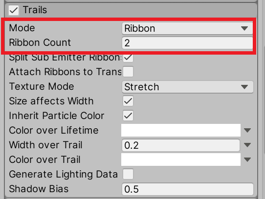 Set the Mode to Ribbon and the Ribbon Count to 2