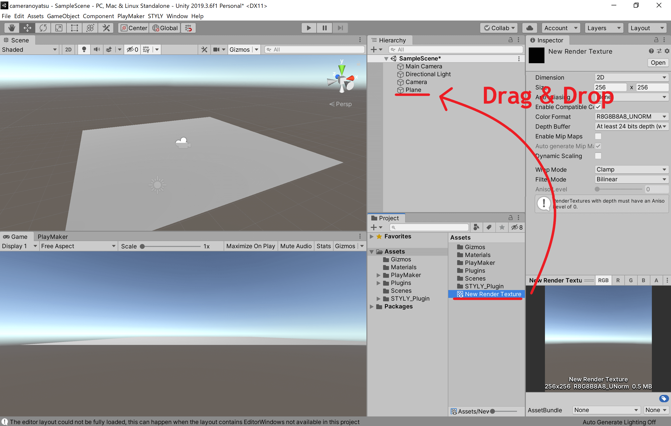 The appearance of the Plane in the scene view changes