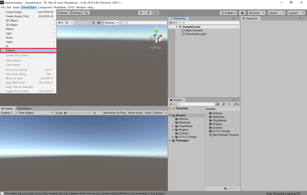 Click on GameObject in the tab at the top of the screen and select Camera.