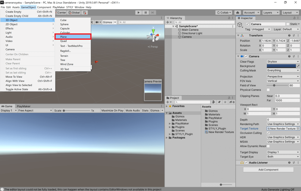 Click on GameObject from the tab at the top of the screen and select 3D Object→Plane.
