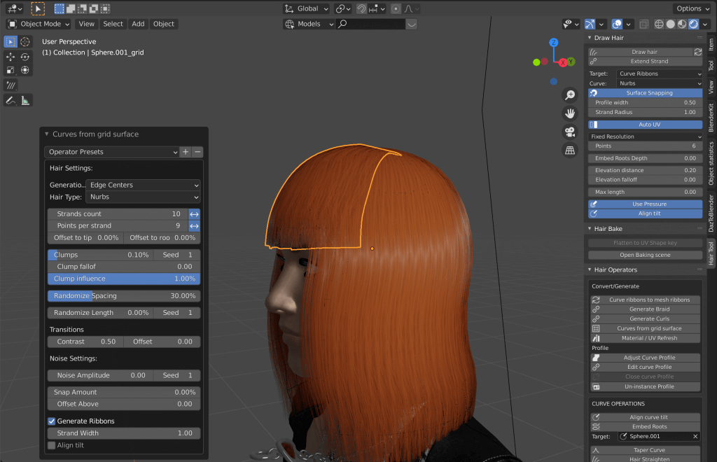Curves from grid surface after applying bangs