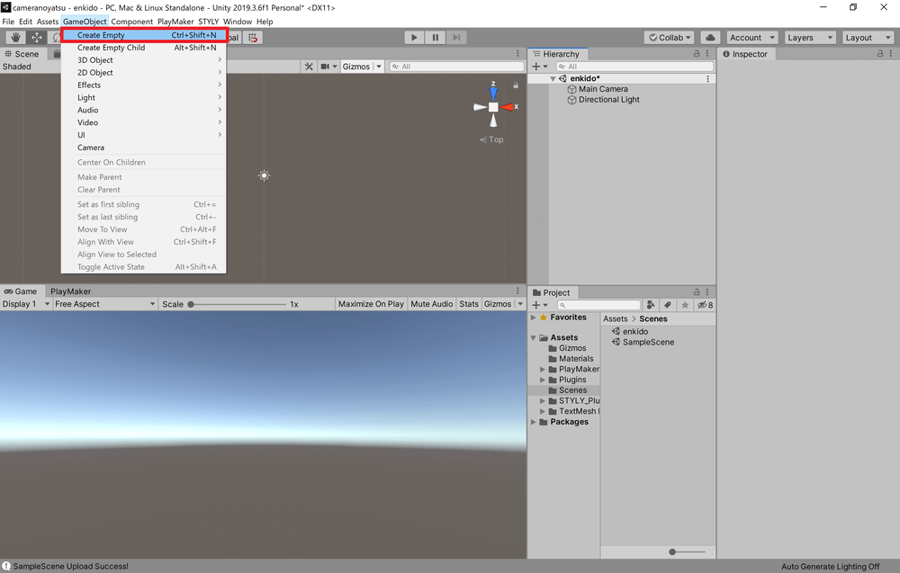 Click on GameObject from the tab at the top of the screen and select Create Empty.