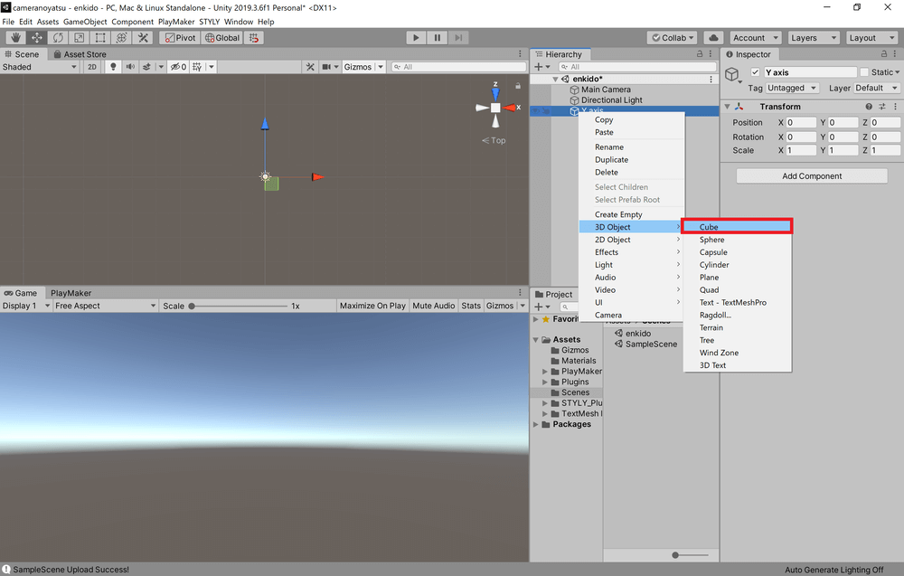 Right-click on the Y axis in the scene and select 3D Object→Cube.