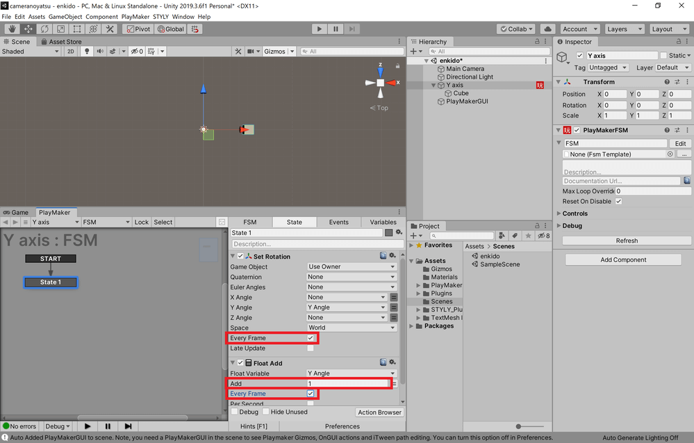 Change the Add of Float Add from 0 to 1, and also check Every Frame of both Float Add and Set Rotation.