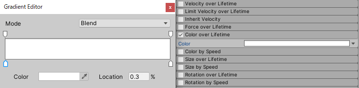 Editing the Color over Lifetime module