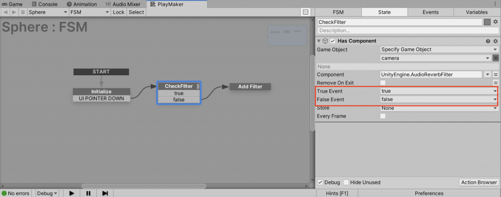 Transition to Add Filter when CheckFilter is false