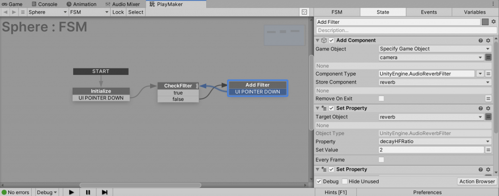 Adding a transition from Add Filter to CheckFilter