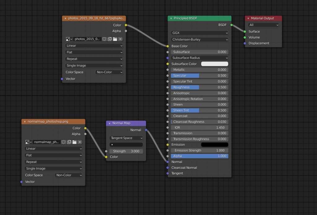 Setting the Image Texture to Base Color