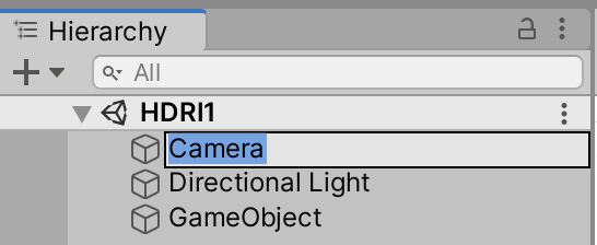 Change the name from Main Camera to Camera