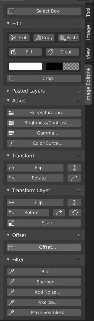 Image Editor+ menu