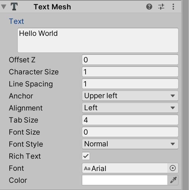 Inspector→Text Mesh