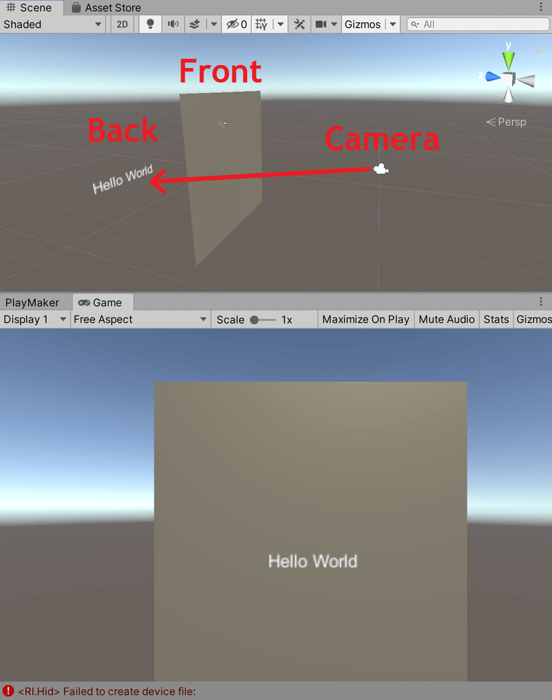 カメラから見てPlaneが手前に、3D Textが奥に位置しますが、カメラの映像では3D TextがPlaneを透過して手前にあるように見えます