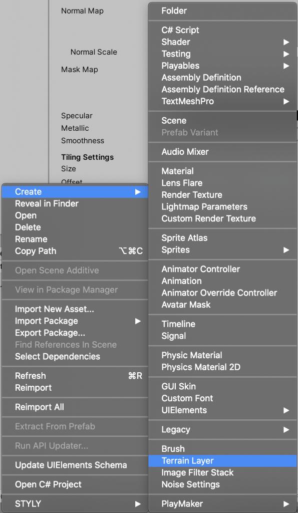 [Create] > [Terrain Layer]